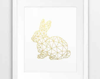 Geometric Rabbit, Origami Print, Geometric Animal Wall Art, Bunny Rabbit Gold Foil, Woodlands Animal, Modern, Nursery Decor, Printable Art