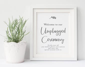 Unplugged Ceremony Wedding Sign, Charcoal and White Modern Leaf Printable Sign, Instant Download, Peach Perfect Australia
