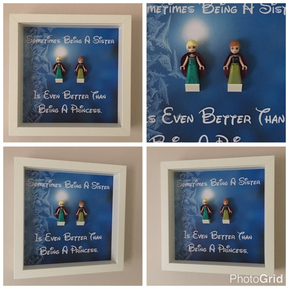 2PC Disney Frozen Sister Minifigure Frame, Mum, Gift, Geek, Box, Personalised, Idea, Birthday, Anniversary, For Her, Lego, Mothers Day