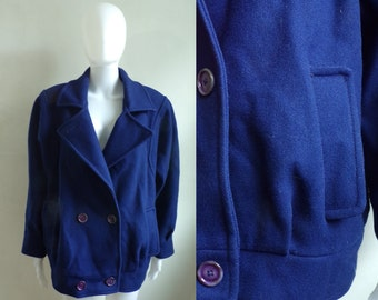 40%offAug15-17 80s cobalt blue felted wool coat size medium/large, paul levy designer coat, 1980s double breasted womens coat, winter coat
