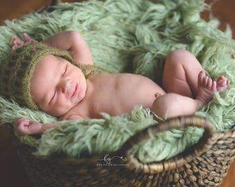 Olive Green Mohair Bonnet Photography Prop