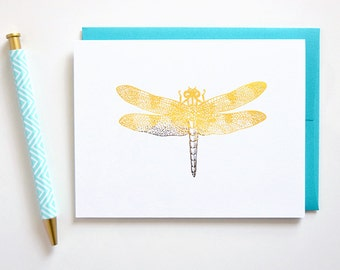 Dragonfly Note Cards- Set of 6 / Blank Note Cards  / Dragonfly Stationery  /  Thank You Card / Nature Stationery / Real Gold Foil