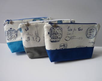 Zippered pouch with a Tea cotton fabric/tea cup charm