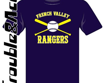 French Valley Rangers Baseball 2016 Custom FV Rangers Spirit Wear FVBSA Rangers T-shirt Yellow White Navy Blue Women's Men's Unisex Shirts