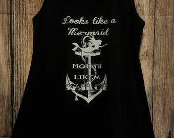 Looks Like a Mermaid Mouth Like A Sailor Flowy Tank Graphic T-shirt Black and White Tank Top for teens, women