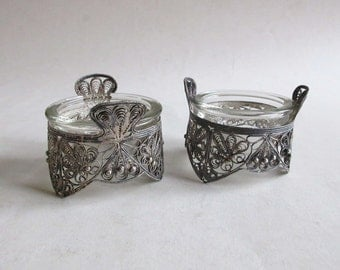 antique sterling silver filigree pair of salt and pepper cellars, table services