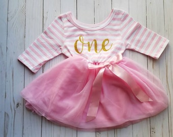 First Birthday Outfit Dress, Girls First Birthday Outfit, Pink and gold first birthday outfit, 1st birthday outfit, first birthday girl