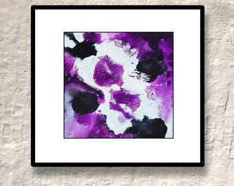 Purple Abstract Painting Original Contemporary Art black white acrylics on paper - Building Fate by Caerys Walsh