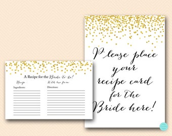 Bridal Recipe Cards, Bridal Shower Recipe Cards, Gold Confetti Bridal Shower, Bachelorette, Wedding Shower BS46