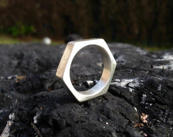 Hex nut ring // Geometric industrial jewelery // Hexagon // Sterling Silver // Man, Men's ring // Wedding, Engagement, Civil partnership.