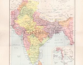Map vintage etsy uk antique india map map of india political map of india world map gumiabroncs Images