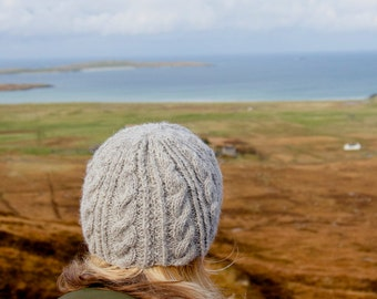 Beannie wool hat - hand knitted in cable pattern