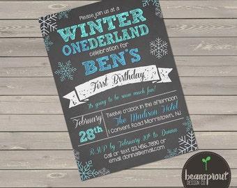 Winter ONEderland First Birthday Invitation - 1st Birthday Invitation - Winter Wonderland - Boy 1st Birthday Invitation - Chalkboard Invite