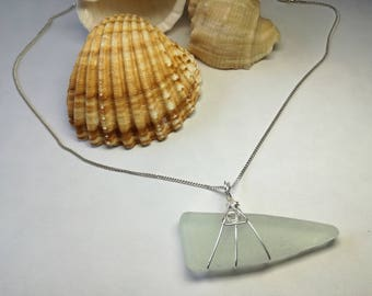Sea glass and sterling silver pendant necklace