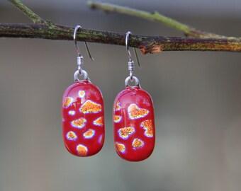 Gold heart dichroic glass earrings, gold dangly  earrings, dichroic drop earrings,  birthday gift, fused glass earrings, glass jewellery