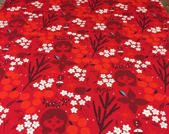Red tablecloth,floral tablecloth with white red flowers, girls, modern tablecloth, Scandinavian design, great GIFT