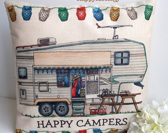RV Campers Cushion Cover.Happy Campers Pillow Case.Vintage RV Cushion.Rv Travel Themed Decor.Camping Traveler Gift.RV Camper Decor