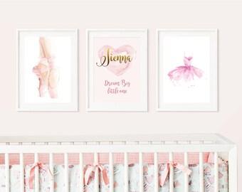 Ballerina- Nursery Prints - 3 = Prints - Gift - Baby shower - Christening - New Baby - Little Girl