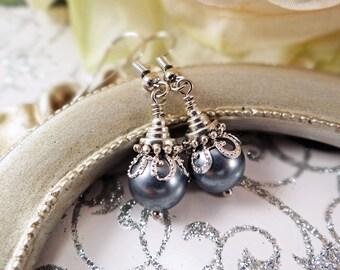 Silver glass pearl earrings, Silver pearl & filigree earrings, Silver glass pearl earrings, Victorian filigree earrings, Elegant earrings