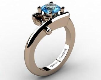 Modern French 14K Rose Gold 1.0 Ct Blue Topaz Diamond Ring R1100-14KRGDBT
