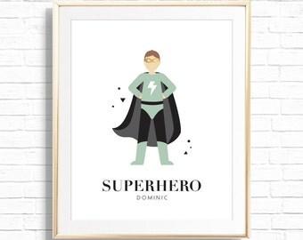 Personalized Art Prints - Nursery Wall Decor - Boys Room Wall Art - Superhero Art Print - Custom Superhero Decor