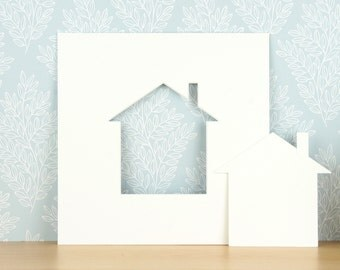 23cm x 23cm photo mounts / mats, House / Home aperture mounts, 5 pack, Antique white, Aperture cut outs included.
