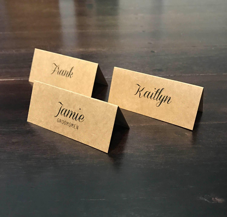 Printed Wedding Place Cards Kraft Placecards