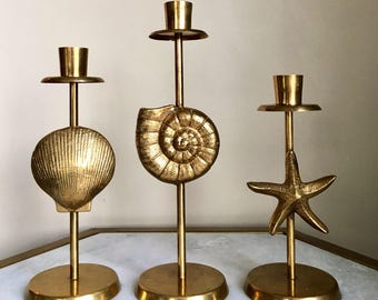 Vintage Brass Ocean Candle Holders. Brass Candlestick Holders. Ocean Theme Design. Solid Brass. 3 Candlestick Holders.