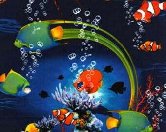 Ocean fabric, Fish fabric, Fabric with Ocean Scene, Juvenile fabric, Kids Novelty Fabric, by Benartex, 5568