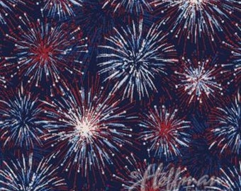 Fireworks, Patriotic fabric, July 4th fabric, Firework Fabric, USA fabric, by Hoffman California 4297