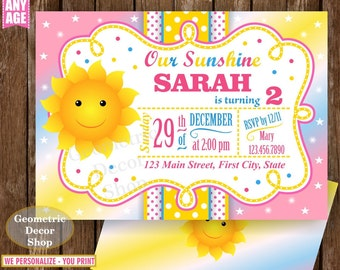 Sunshine Birthday Party Invite Sunshine First Birthday Invite You are my Sunshine Pink Yellow Digital PRINTABLE Photo Photograph BDS4