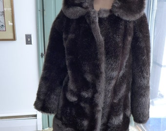 Retro Faux Dark Chocolate  Mink Fur Coat Fits (M) Excellent!