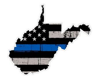 West Virginia State (V48) Thin Blue Line Vinyl Decal Sticker Car/Truck Laptop/Netbook Window