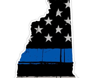 New Hampshire State (U30) Thin Blue Line Vinyl Yeti Tumbler Decal Sticker Laptop/Netbook
