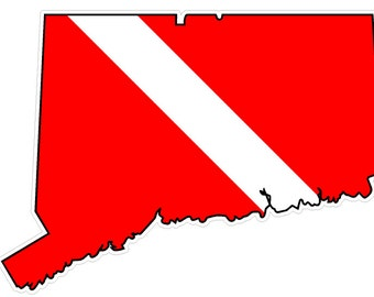 Connecticut State (B9) Diver Down Flag Yeti Tumbler Decal Sticker Laptop