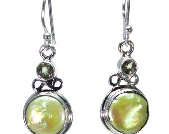 Mother of Pearl, Quartz Earrings, 925 Sterling Silver, Unique only 1 piece available! color yellow, weight 6.2g, #24658