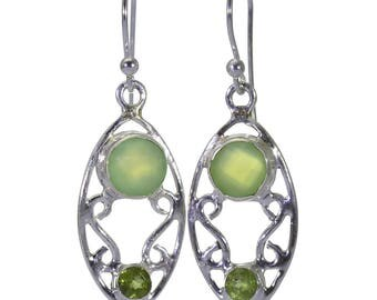 Chalcedony, Peridot Earrings, 925 Sterling Silver, Unique only 1 piece available! color green, weight 4.1g, #40339