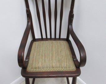 Antique Tiger Oak Child's High Chair