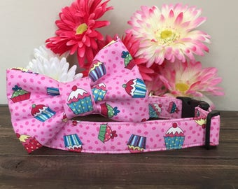 Dog collar, cupcake dog collar, birthday dog collar, birthday dog bow, birthday bow tie, birthday collar, happy birthday dog collar, party