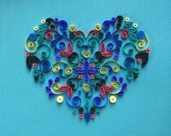 Handmade Quilled Paper Heart Art