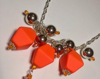 Orange big bead necklace