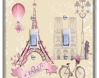 Paris Eiffel Tower Hot Air Balloon Pink Light Switch Plate Cover Girls Nursery Decor Pattern Print