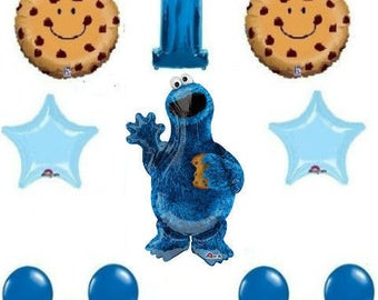 12 pc Sesame Street Cookie Monster Balloons 1st birthday party supplies shower