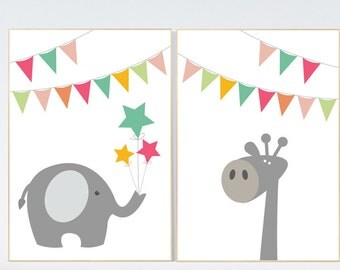Animal nursery prints, Animal nursery art, elephant, giraffe, Kids Art, Nursery Decor, Baby Wall Art, animal nursery decor, playroom decor,
