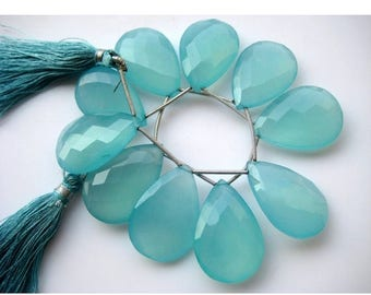 ON SALE 50% Aqua Chalcedony, Blue Chalcedony, Briolette Beads, Pear Beads, Faceted Gemstones, 20x30mm Each, 5 Pieces