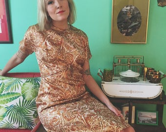 60's golden pasley party dress