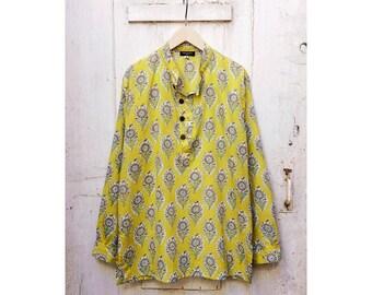 Saffron Woodblock Flower Cotton Nehru Collar Shirt