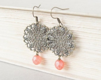 Coral Filigree Earrings - Bronze Earrings, Pink Earrings, Girly Earrings, Gift for Her, Faceted Earrings, Boho Earrings, Bohemian Earrings