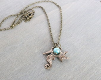 Seahorse Starfish Freshwater Pearl Necklace - Blue Necklace, Beach Necklace, Aqua Necklace, Charm Necklace, Simple Necklace, Bronze Necklace