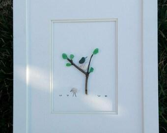 Pebble art nature, Pebble art birds,  bird's nest, Nest birds tree, 3d art, birds art, spring birds nest, anniversary couple, wedding couple
